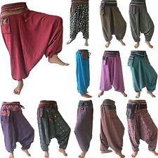 Harem Pants Trousers Alibaba Gypsy Hippie Aladdin Baggy Genie Men Women Hmong