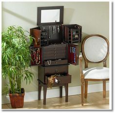 Jewelry Cabinet Armoire Standing Top Mirror 6 Drawers Built in Storage Brown http://www.ebay.com/itm/Jewelry-Cabinet-Armoire-Standing-Top-Mirror-6-Drawers-Built-in-Storage-Brown-/151838525312