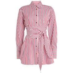 Khaite Bianca Striped Cotton Shirt (€505) ❤ liked on Polyvore featuring tops, stripes, striped cotton shirt, striped top, woven cotton shirt, red shirt and stripe top