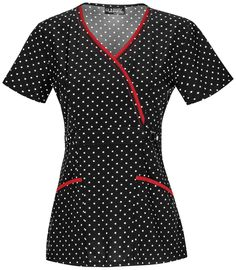 """A mock wrap top features piping at the front neck, front princess seams, a self belt at the empire waist with a decorative snap, angled patch pockets, back darts, and side vents. Center back length: 26"""" Sizes: XS - 3XL Color: Pin Dots (PDTS) Brand: Runway"""
