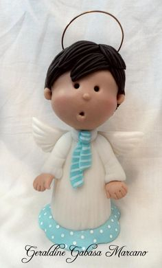 angel con corbatin  porcelana fria polymer clay