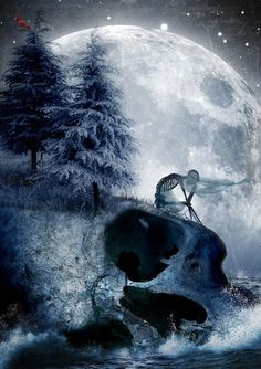 I simply love this art I found. By Dan Verkys it's totally awesome. I see 3 skull heads. (moon/skeleton/n sitting on the skull) I love skulls. Skeleton&cross bones and I don't know what my fascination is but I just love them :) Dark Fantasy Art, Dark Art, Art Of Dan, Totenkopf Tattoos, Skull Pictures, Skeleton Art, Skeleton Drawings, Dark Thoughts, Arte Horror