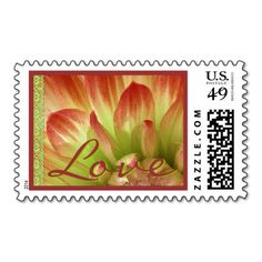 Orange & Lime Wedding Flower LOVE Stamp #wedding #stamps #love #marriage #romance #bride #groom #jaclinart #postage #orange #lime #flower