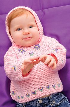 Free knitting pattern for Perfect Posy Hoodie - Marilyn Losee designed this adorable hooded pullover with embroidered flowers for Caron. Free Baby Sweater Knitting Patterns, Knit Baby Sweaters, Baby Patterns, Knit Patterns, Vintage Patterns, Caron Simply Soft, Arm Knitting, Knitting For Kids, Crochet Baby