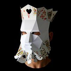 KING of Hearts Mask Make your own paper mask with this Make Your Own, Make It Yourself, Paper Mask, 3d Paper Crafts, King Of Hearts, Animal Masks, Queen, Halloween Masks, Mask Design