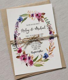 Boho Chic Wedding Invitation Floral Wedding by LoveofCreating