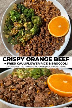 This crispy orange beef and broccoli is perfect for feeding the entire family in a hurry or meal prepping for the week ahead. With high volume veggies, 30 grams of protein, 20 grams of carbs, and 270 calories per serving, this recipe will keep you full fo Beef Recipes, Healthy Recipes, Beef Meals, Potato Recipes, Delicious Recipes, Pasta Recipes, Healthy Foods, Soup Recipes, Vegetarian Recipes