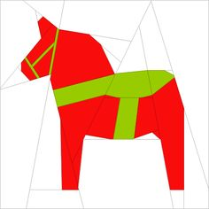 Dala Horse, A free foundation paper piecing pattern by Under Rainbow, found on Craftsy