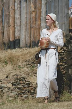 Costume of Slavonic woman from the state of Great Moravia, c. 9th-11th centuries.