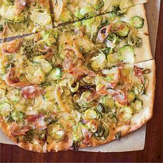 Brussels Sprout, Pancetta and Parmesan Flatbreads | Thanksgiving Appetizer Idea: Sara Vaughn thinly slices her favorite vegetable and tosses it with pancetta and caramelized onions for a savory flatbread topping.