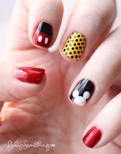 Cute Nails #Nailart #mickeynails #polkadots - bellashoot.com