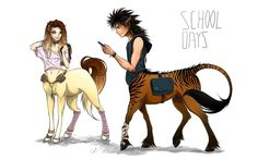 Centaur School Days by Cat-S-Dragoness