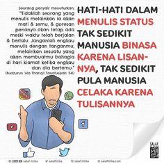"""Ittiba`u Rasulillah ﷺ (@salaf.ittiba) menambahkan foto ke akun Instagramnya: """"📌 HATI-HATI DALAM MENULIS STATUS . Seorang penyair menuturkan: """"Tidaklah seorang yang menulis…"""" Islamic Pictures, Words, Instagram"""