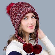 7b64b669a7db3 Knitted Wool Cap Warm Winter Skullies Beanies Hat For Women  hats  skullies   women