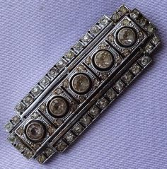 ART DECO Diamante Stone Pierced Metal Bar Brooch