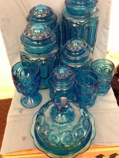 15 Pc Depression Blue Moon & Stars Canister set, Butter Dish, Glasses