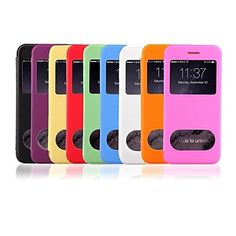 nuevo cuero del tirón esmerilado transparente caja del teléfono ventana inteligente ultra delgado doble para el iphone 6 – EUR € 6.71