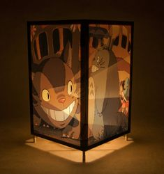 Totoro lamp / nightlight / light - featuring characters from the movie My Neighbor Toroto with Catbus (fan art)