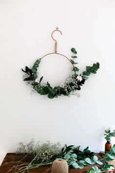 A DIY wreath and other simple, yet beautiful Christmas decorating ideas.