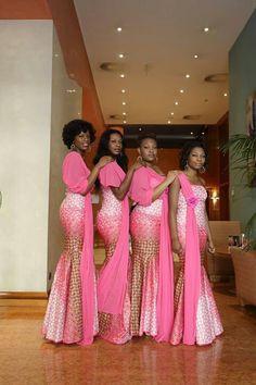 Pink printed dress with one shoulder chiffon sash! Bridesmaid Aso-Ebi it looks like. #asoebi #isabis
