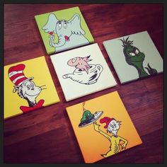 Dr Seuss Inspired Hand Painted Canvases Great For Bathrooms And Bedrooms,  Horton, Grinch,