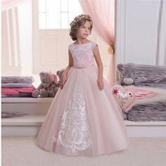 2016 довольно розового кружева цветочные платья для свадеб и ну вечеринку тюль аппликации line танк дешевые девушки долго конкурс платье причастие купить на AliExpress