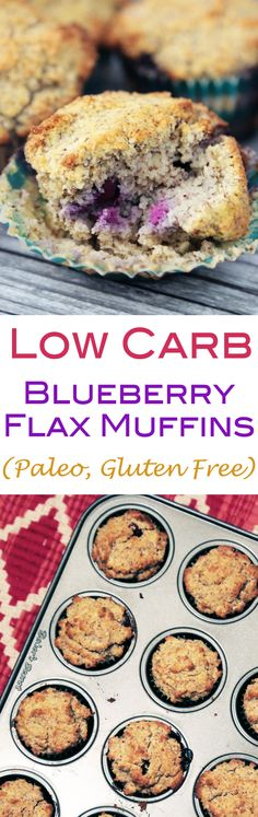 Low Carb Blueberry Flax Muffins (Gluten Free, Grain Free, Paleo Friendly)