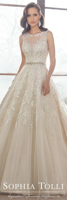 The Sophia Tolli Fall 2015 Wedding Dress Collection - Style No. Y21520 sophiatolli.com #laceweddingdress @moncheribridals