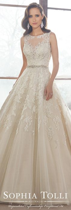 The Sophia Tolli Fall 2015 Wedding Dress Collection - Style No. Y21520 sophiatolli.com #laceweddingdress @moncheribridals