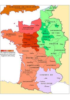 Angevin empire possesions in Medieval France 1154