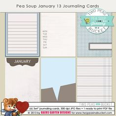 Pea Soup January 13 Journaling Cards by Baers Garten Designs - Two Peas in a Bucket