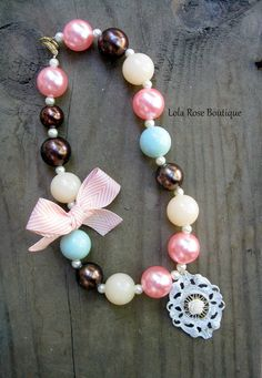 Chunky Bead Necklace for Girls Shabby Chic