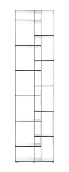 2007 hat Nana Gröner das Regal CODE 1 gestaltet. Die raffinierte Aufteilung bietet für unterschiedlichste Medien Platz. Die fassadenartige Struktur ist von architektonischen Elementen inspiriert. © Zeitraum Elsa Beskow, Aluminium, Bookshelves, Divider, Coding, Kante, Home Decor, Products, Closet Storage