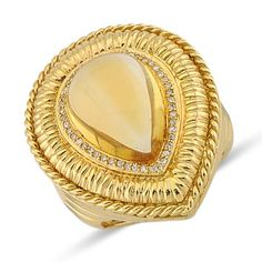 Spellbinding Designer Cut Citrine Round Diamond Large Gemstone Pear Shaped Ring In 14K Yellow Gold    $1,191.00