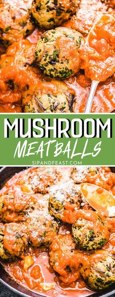 These mushroom meatballs are loaded with grated Pecorino Romano cheese, garlic, parsley, eggs, and breadcrumbs giving them a hearty texture. The best thing about these veggie meatballs are that they only need to be warmed up in sauce for a few minutes! #mushrooms #mushroommeatballs #veggiemeatballs #babybella #dinner