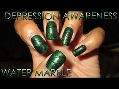 Green Water Marble For Depression Awareness (2016) | DIY Nail Art Tutorial - YouTube
