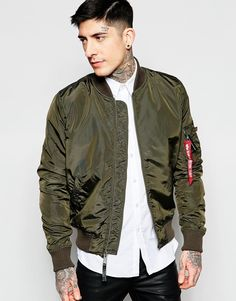 Alpha+Industries+MA1+Bomber+Jacket+Slim+Fit+in+Grey