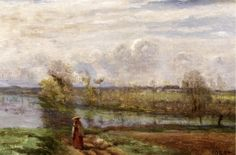 artist-corot: Girl Reading by the Water via Camille CorotSize:...