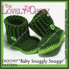 Baby Schuhe häkeln Muster BABY SNUGGLY SNUGGS digital von ebethalan, $5,95