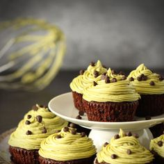 Double Chocolate Cupcakes with Matcha Frosting
