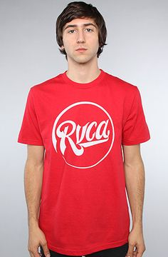 RVCA The Roundabout Tee in Red Model is wearing a size Medium Loose-fitting  crew neck tee with graphic on front  By RVCA f1c628e2a
