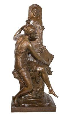 Schönheit Bronze Marmorsockel Jugendstil Selten Fee Dashing Metallfigur Patina