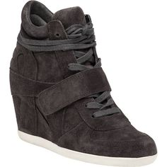 ASH Bowie Bistro Suede Wedge Sneaker ($215) ❤ liked on Polyvore featuring shoes, sneakers, grey suede, wedged sneakers, velcro sneakers, suede sneakers, grey sneakers and gray sneakers