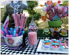 Alice in Wonderland, Mad Tea Party, Candy Buffet Birthday Party Ideas | Photo 4 of 12