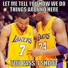 Kobe Bryant telling his new teammate to always pass the ball to him