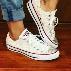 08d3aed49e6d1a White Pearl Chuck Taylor All Star Converse with Bling for Wedding size 7.5