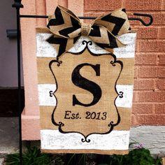 Monogrammed+burlap+hanging+flag++by+MrsCraftyNOLA+on+Etsy,+$30.00