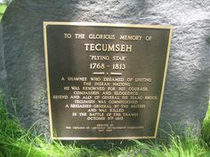 Tecumseh | Small and solitary, this plaque from 1963 give one time to read and ...