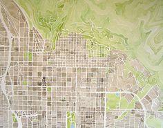Salt Lake City Utah watercolor city map 11x14 by SummitRidge