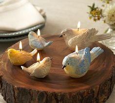 Diy Candles, Lavender Candles, Ceramic Birds, Votive Holder, Polymer Clay Crafts, Tea Light Holder, Flower Crafts, Plant Decor, Fairy Lights